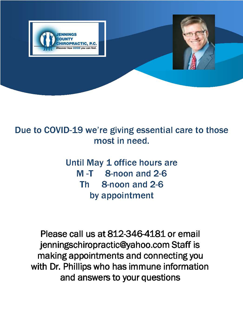 COVID-19 Announcement at Jennings County Chiropractic